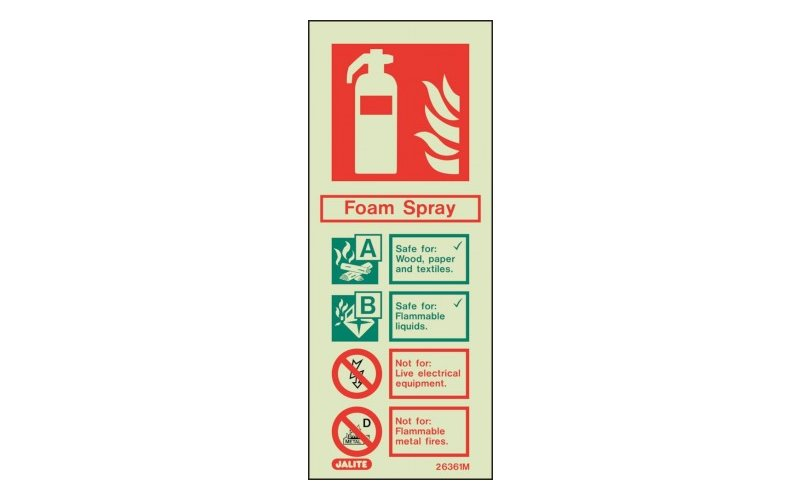 Foam Spray ID Sign Photoluminescent (200mm x 80mm)
