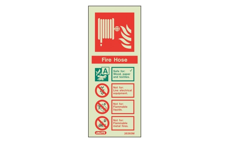 Fire Hose ID Sign Photoluminescent (200mm x 80mm)