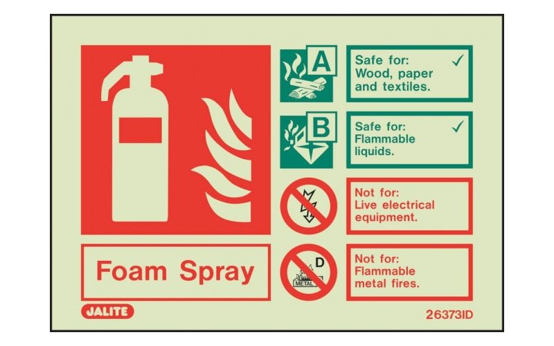 Foam Spray ID Sign Photoluminescent (150mm x 200mm)