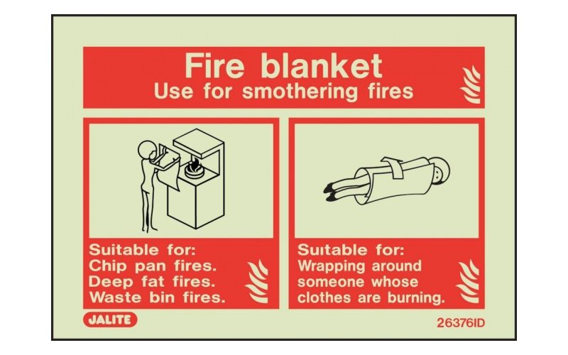 Fire Blanket ID Sign Photoluminescent (100mm x 150mm)