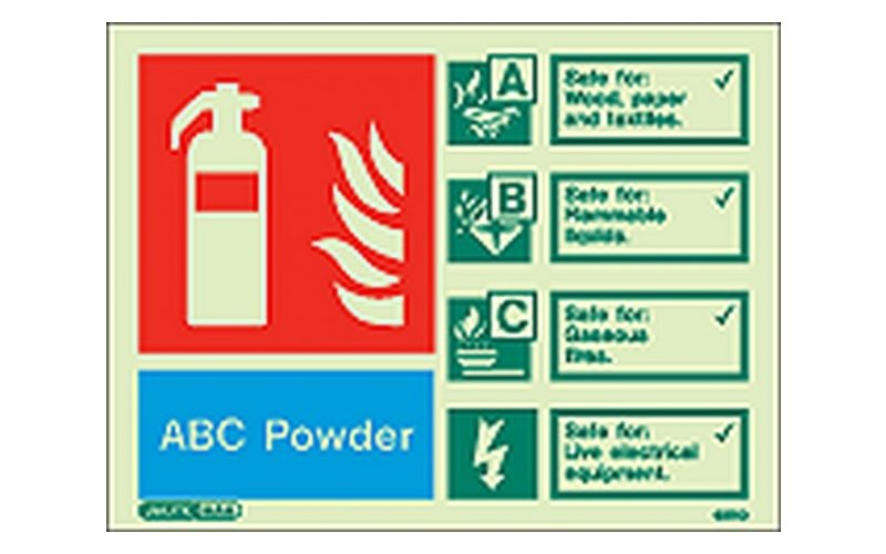 ABC Powder ID Sign Photoluminescent (150mm x 200mm)