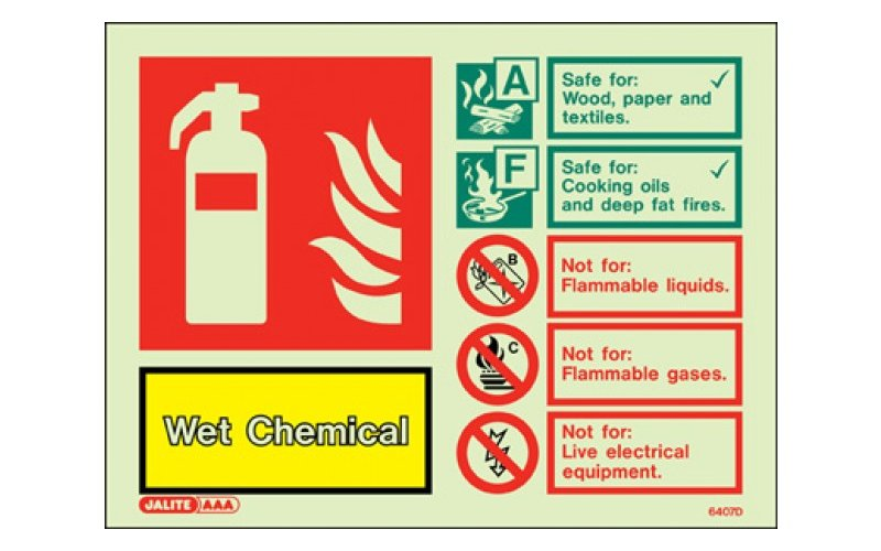 Wet Chemical ID Sign Photoluminescent (150mm x 200mm)