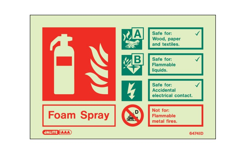 Foam Spray ID Sign Photoluminescent (100mm x 150mm)
