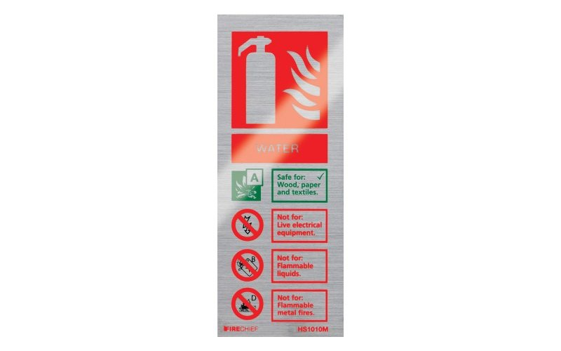 Brushed Aluminium Water Extinguisher ID (200mm x 80mm)