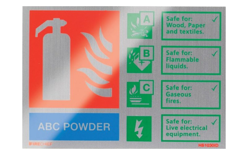 Brushed Aluminium Abc Powder Extinguisher ID (105mm x 150mm)
