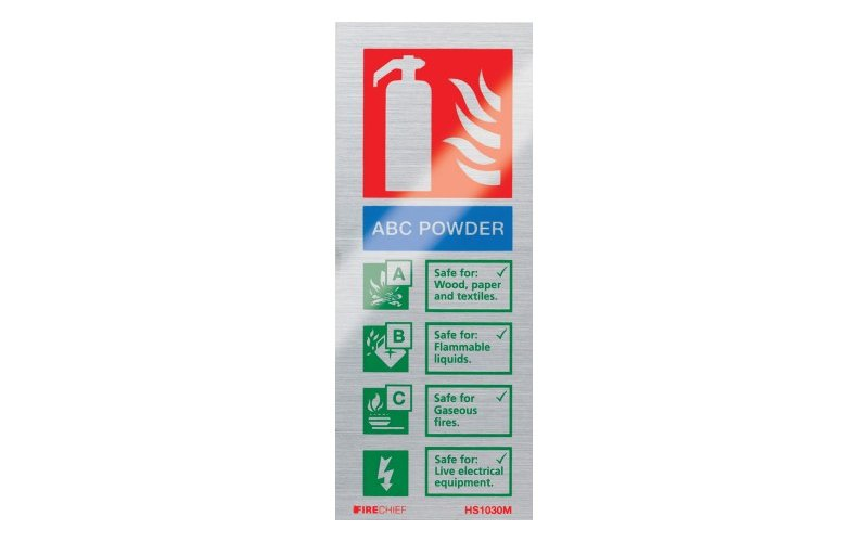 Brushed Aluminium Abc Powder Extinguisher ID (200mm x 80mm)
