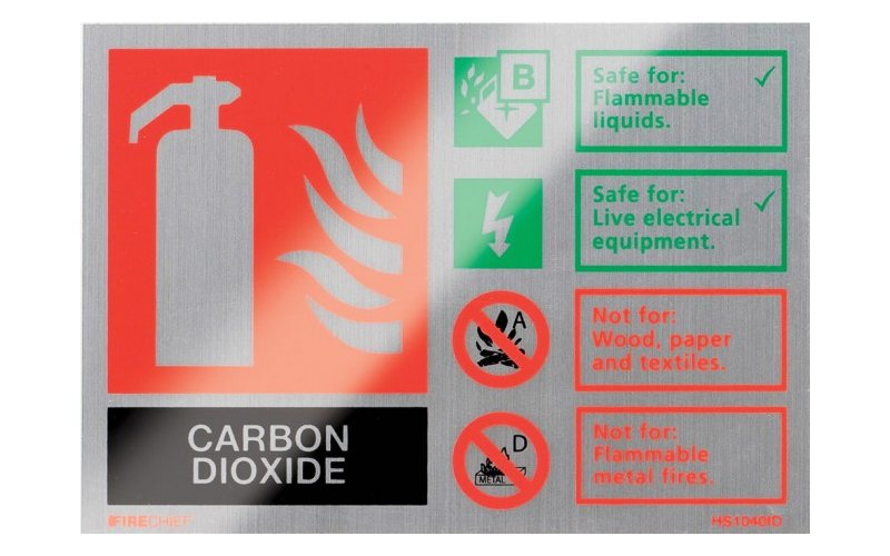 Brushed Aluminium Co2 Extinguisher ID (105mm x 150mm)
