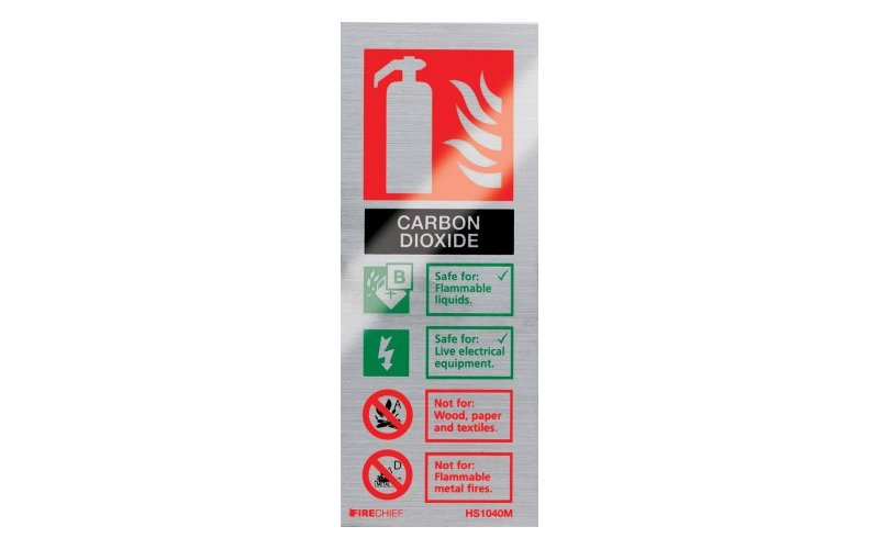 Brushed Aluminium Co2 Extinguisher ID (200mm x 80mm)