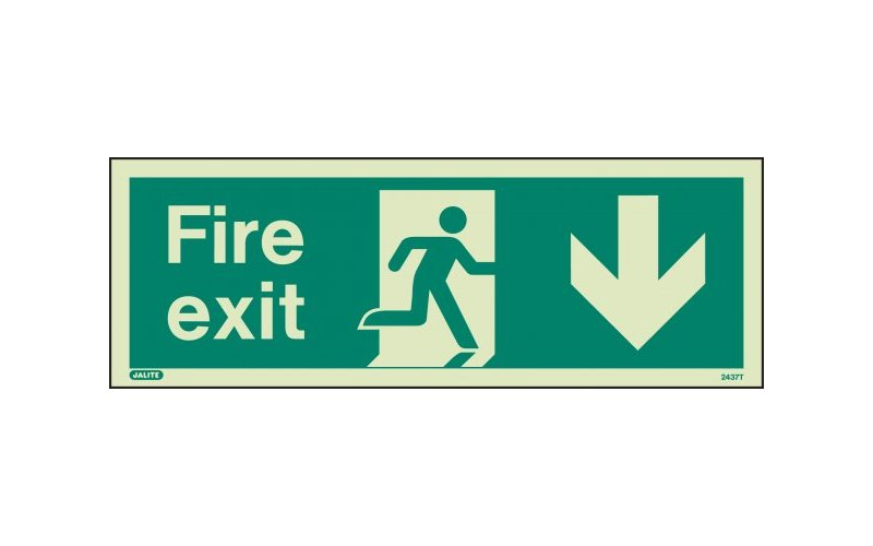 Fire Exit Sign with Down Arrow