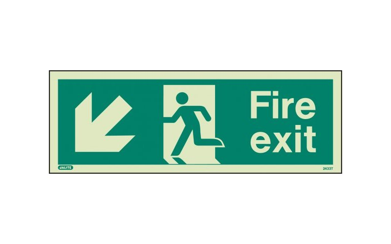 Fire Exit Sign with Down Left Arrow
