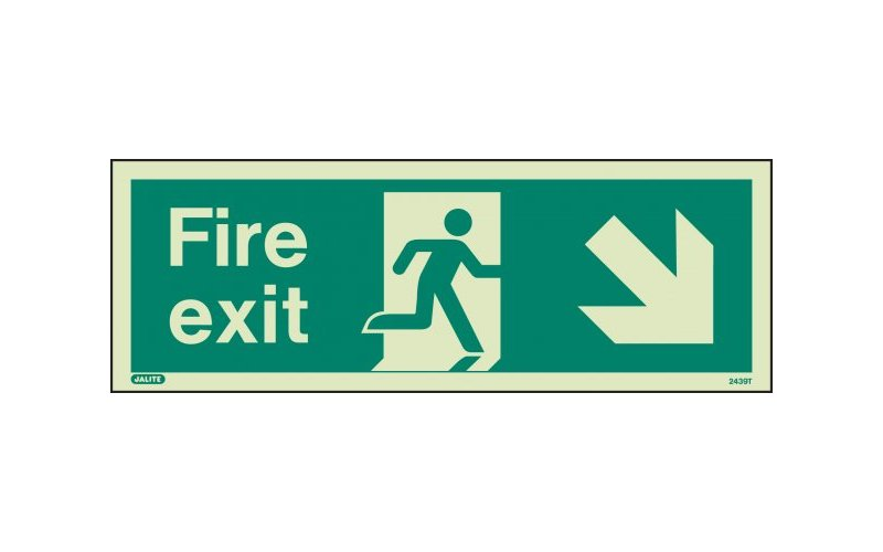 Fire Exit Sign with Down Right Arrow