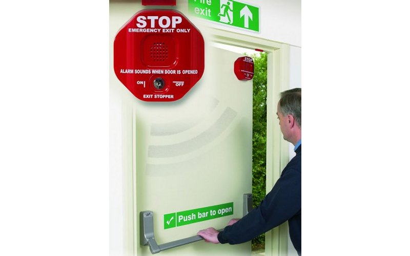 Exit stopper door alarm