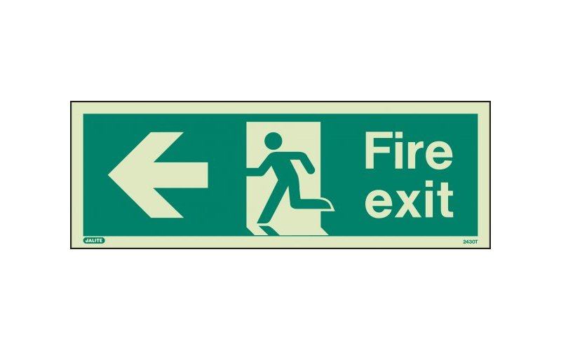 Fire Exit Sign with Left Arrow