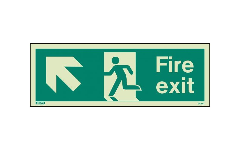 Fire Exit Sign with Up Left Arrow