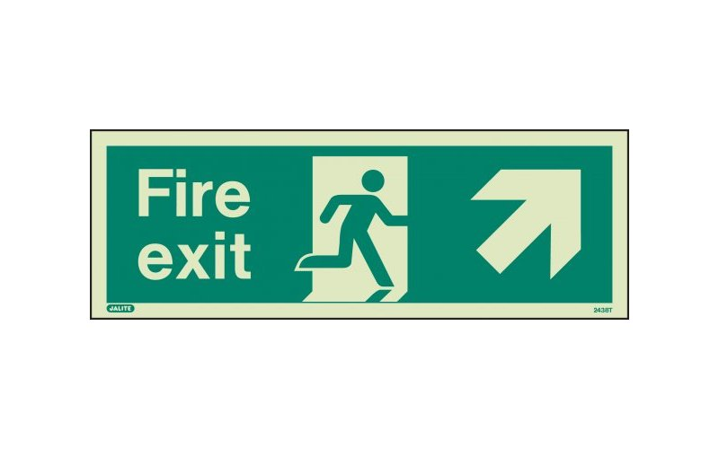 Fire Exit Sign with Up Right Arrow